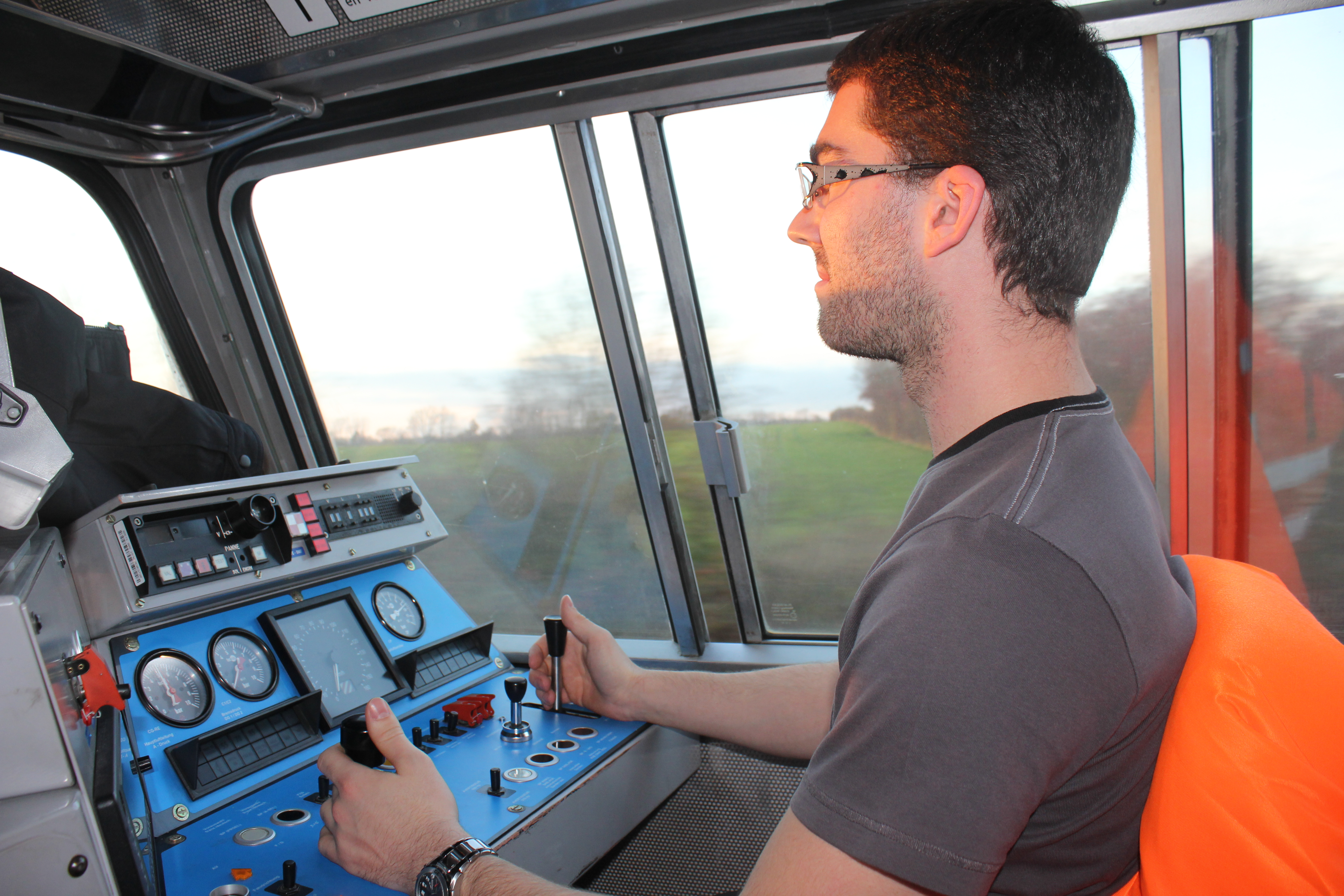 Driver on the first train of Lineas France