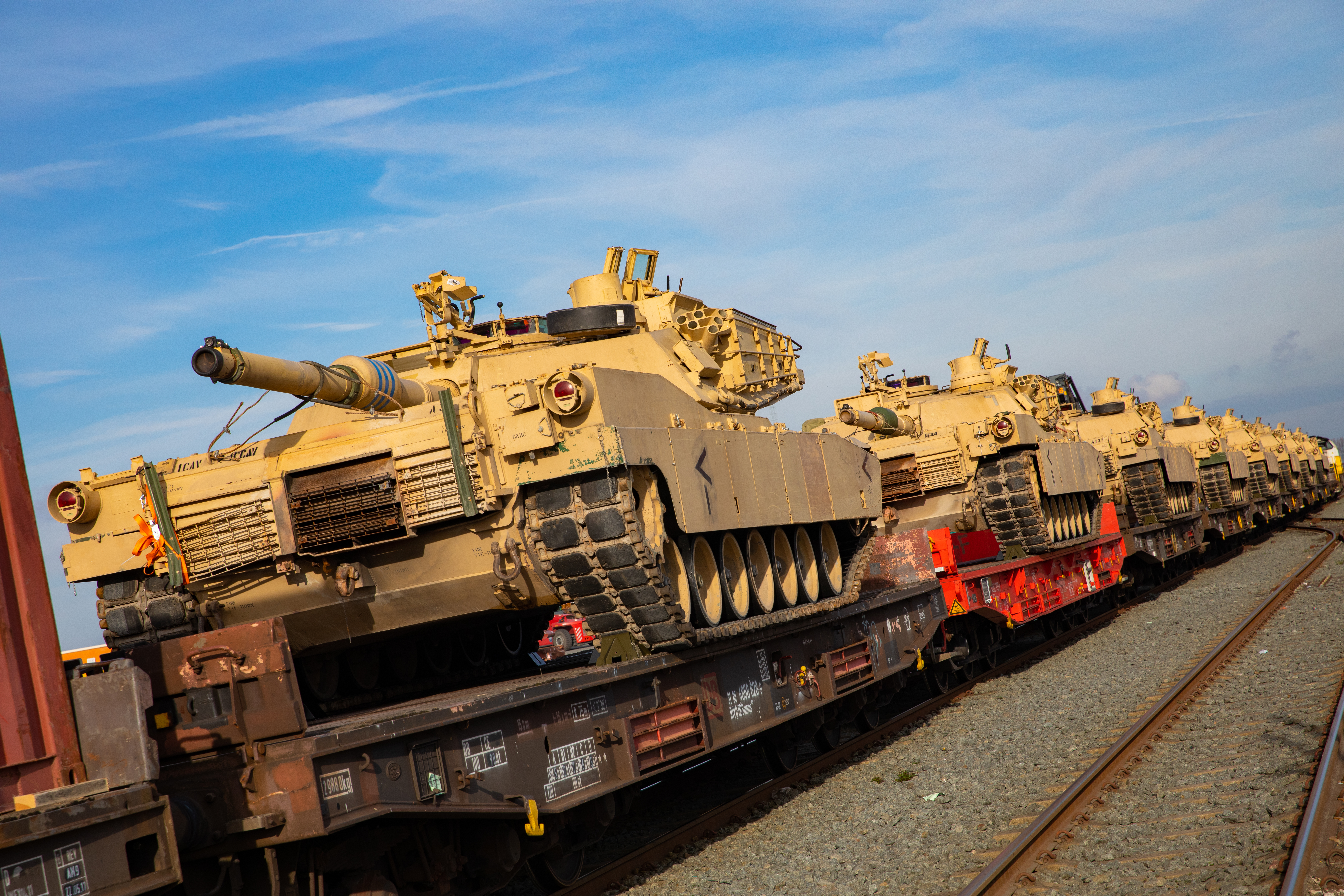 US Army Materiel loaded onto Lineas trains.